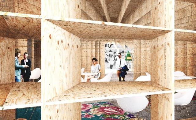 Dřevěný veletržní stánek